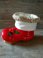 Vintage Ceramic Santa Boot Christmas Piggy Bank Gold Spaghetti Trim Japan
