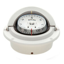 """Ritchie Marine F-83 Voyager Boat Compass Flush Mount White 12V Lighted 3"""" Dial"""