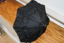 Antique Victorian Small Black Carriage Parasol Umbrella Vintage Edwardian Old.