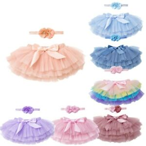 Baby Girls Tutu Skirt Outfit Princess Birthday Party Photo Shoot Infant Headband