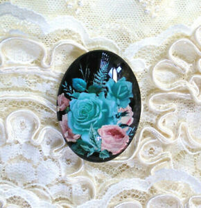30X40mmTeal Pink Roses NO Glitter Unset Handmade Glass Art Bubble Cameo Cabochon