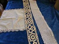 lot 2m,15 bandes de crochet coton,faites main +napperon offert ,dentelle coton