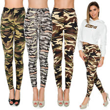 Womens Military Full Length Leggings Plus Size Stretchy High Waist Pants FS8828