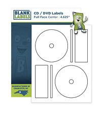 100 CD DVD Laser and Ink Jet Labels -Full Face Memorex Size! 50 Full Face Sheets