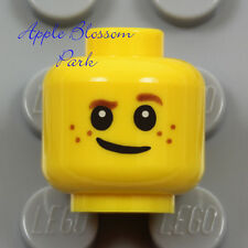 NEW Lego Child MINIFIG HEAD -Boy Girl Kid Freckles Grin Smile Brown Eyebrow Hair