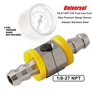 "1/8-27 NPT 3/8"" Steel Car Fuel Line Fuel Pipe Pressure Gauge Sensor Adapter Part"