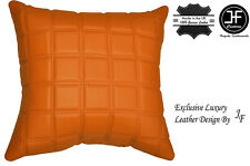 """1X EXCLUSIVE LUXURY LEATHER CUSHION ORANGE QUILTED SQUARES PADDED 18""""x18"""""""