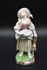 """Hochst German Victorian Girl With Goose Baseket & Hare 6 1/2"""" Figure Group"""