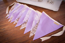 2m Handmade Bunting Flags Lilac & Lace - Party Wedding Child Bedroom Decor