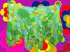R4 Prilblumen Flower-Power Hippie 60er 70er Jahre Mini Rock Woodstock grün