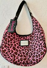 CHIC BETSEY JOHNSON PINK QUILTED LEOPARD PRINT BAG, STUDS, CRYSTALS---FREE SHIP!