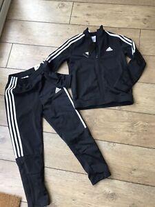 BNWT Brand New Unisex Adidas Black Tracksuit Jacket/Trousers Age 9-10 Years