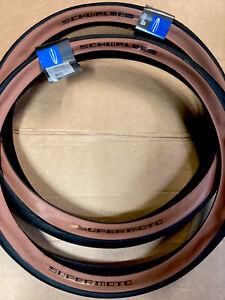 Pair Schwalbe 27.5 X 2.40 Super Moto Brown Wall Tyres