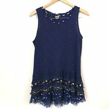 Womens OS One September Navy Blue Ruffled Hem Cha Cha Knit Tank Tunic Medium