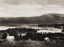 1924 Vintage SCANDINAVIA Photo Art Sweden Lake Kall Log Cabin Village Landscape