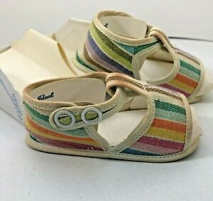 Vintage 1940's Mrs Days IDEAL size 0 in box Infant Baby Sandals Stripe Snap