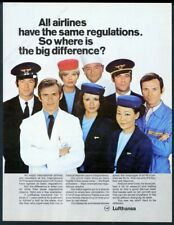 1970 Lufthansa airlines pilot stewardess crew photo European vintage print ad
