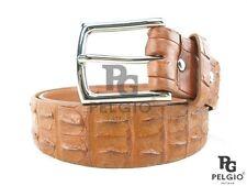 "Genuine Crocodile Alligator Double Hornback Skin Leather Men Belt 46"" Long Brown"