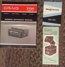 Vintage Craig3134 Owners Manual, Magnavox Clock Radio Lemco PortaSound Predator