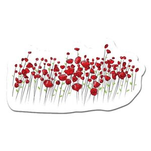 """Red Poppies 12"""" - 24"""" - 36"""" - 48"""" Peel And Stick Wall ArtRemovable Cute Sticker"""