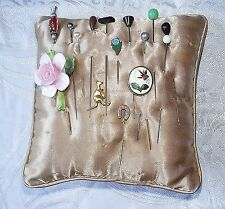 15 ANTIQUE & VINTAGE HAT PINS ON CUSHION ENAMEL GLASS CHINA JET FAUX PEARL STONE