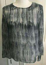 CLOTH & STONE Womens Top BLUE Gray Stripe Long Sleeve Back Button Size S