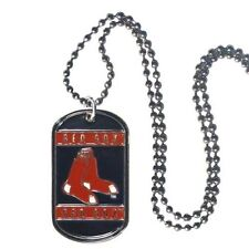 """Boston Red Sox Dog Tag 19"""" Silvertone Necklace MLB Official Licensed Engravable"""