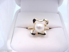 CULTURED AKOYA SALTWATER PEARL 7.35 mm 14K GOLD RING