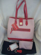 DOONEY & BOURKE RED SHOPPER HANDBAG W/ 3 MATCHING ACCESSORIES, DUST BAG NWT $295