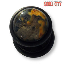 TIGER Glass Black Gemstone Fakeplug-Fake piercing Stone Plug pietra orecchini a bottone
