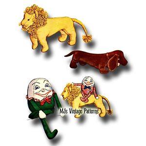 Vintage Stuffed Toys Pattern ~ Lion, Dog, Humpty Dumpty