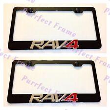 2X RAV4 3D Emblem RAV 4 TOYOTA Stainless Steel Black License Plate Frame W/cap