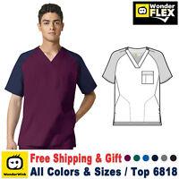 WonderWink Scrubs FLEX Men's Pocket V-Neck Block Top 6818