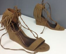 CARLOS BY CARLOS SANTANA Brown Microfiber Fringed Ankle Tie Wedges Sz 6 B4510