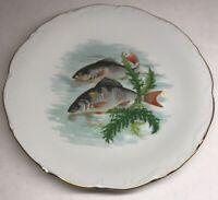 Lot1 De 6 Grandes Assiettes En Porcelaine De Sologne Décor Poissons D 23,5 Cm