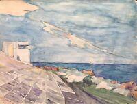 Acquerello Impressionista Grado Adria Costa Italia Isola Sole in Mare Firmato