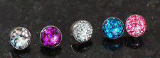 5 Pc Internal threaded 4 mm Mixed Color Glitter Dome Dermal Anchor Heads Top 14g