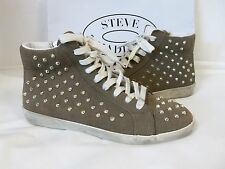 Steve Madden 10 M Twynkle Taupe Suede Fashion Sneakers New Womens Shoes