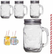TAZZA Set di 4 barattoli di vetro Vetro Set tazze per bere COCKTAIL Cannucce MANIGLIA 450ml