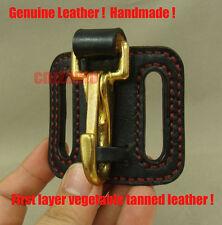 Handmade Black Genuine Leather & brass snap hook easy release Key ring Belt Clip