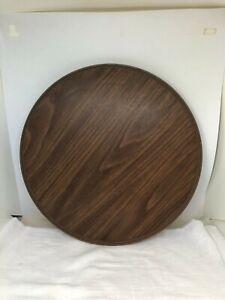 """Vintage Rubbermaid Lazy Susan Turntable Brown Wood Grain Look Spinner 13"""" Round"""