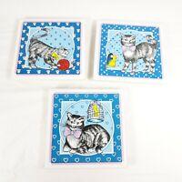 Cat Trivet Coasters Set of 3 Tile Trivets
