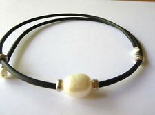 FRESHWATER WHITE PEARL 10MM RUBBER CHOKER NEW