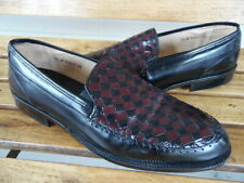 Stanley Blacker Handmade Italian Woven Leather Loafers 14M NWOB Black & Brown