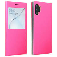 Smart view window flip case for Samsung Galaxy Note 10 Plus, slim cover – Fucsia