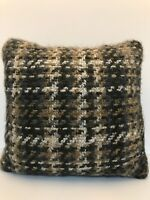 Plaid Knit Toss/Throw Pillow Brown/White/Tan Square 18""