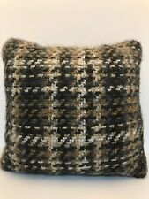 Plaid Knit Toss Accent Throw Pillow Brown/White/Tan Square 18""