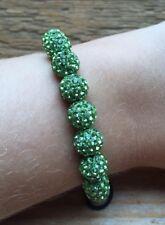 Pretty Green Rhinestone Set Ball Bracelet/Black Cord/Dressy/Evening/Occasion