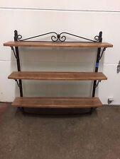 Longaberger Wrought Iron 3 Tier Hanging Shelf w Rich Brown Wood Shelves Great