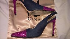 GINA Denim & Pink Sequin Slingbacks Great Condition UK4 EU37 with Box & Dustbag
